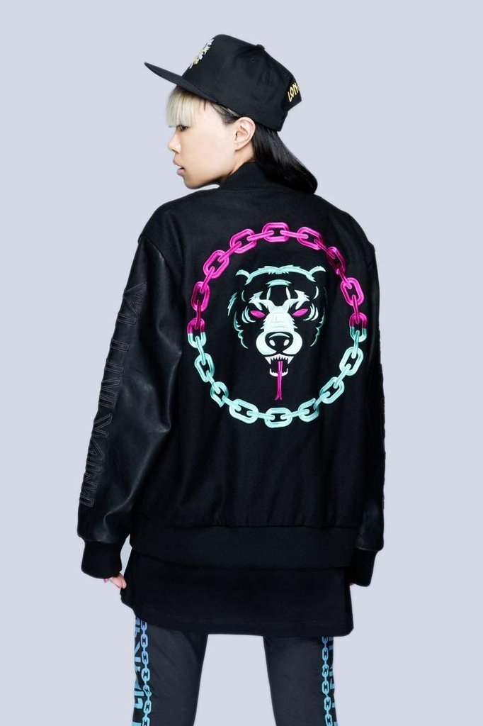 Death Adder Chain Purple Turquoise Jacket - Unisex-Long Clothing-Dark Fashion Clothing