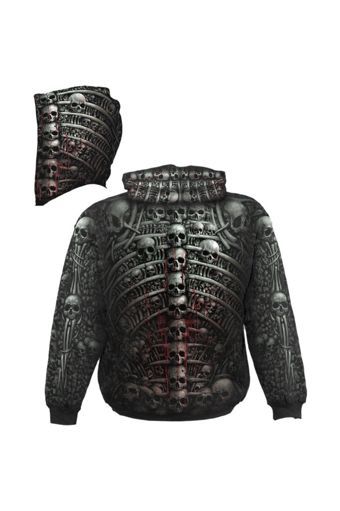 Death Ribs - Allover Hoody Black-Spiral-Dark Fashion Clothing