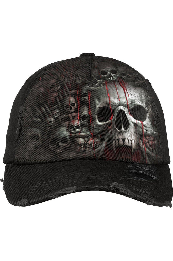 Death Ribs - Baseball Caps Ditressed With Metal Clasp-Spiral-Dark Fashion Clothing