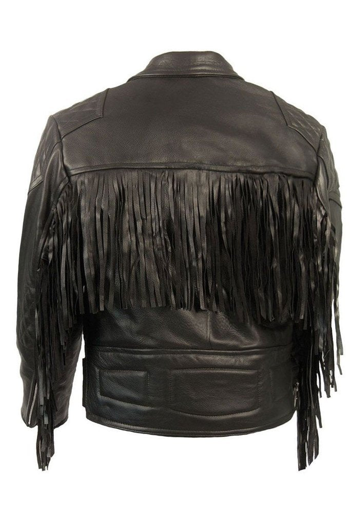 Diamond Fringed Biker Jacket-Skintan Leather-Dark Fashion Clothing