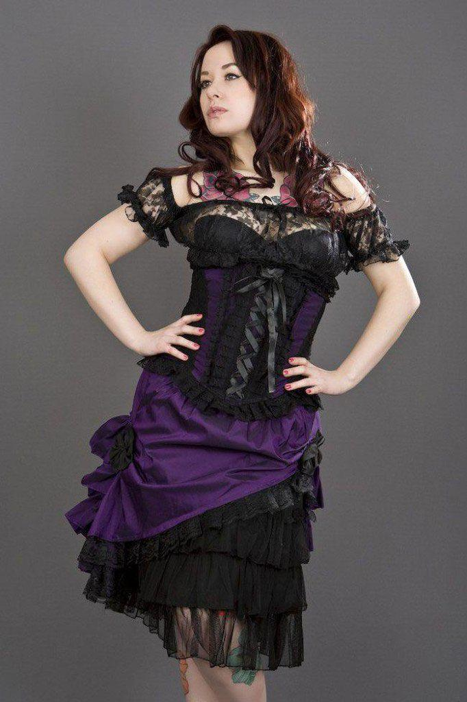 Diva Knee Length Skirt In Taffeta-Burleska-Dark Fashion Clothing