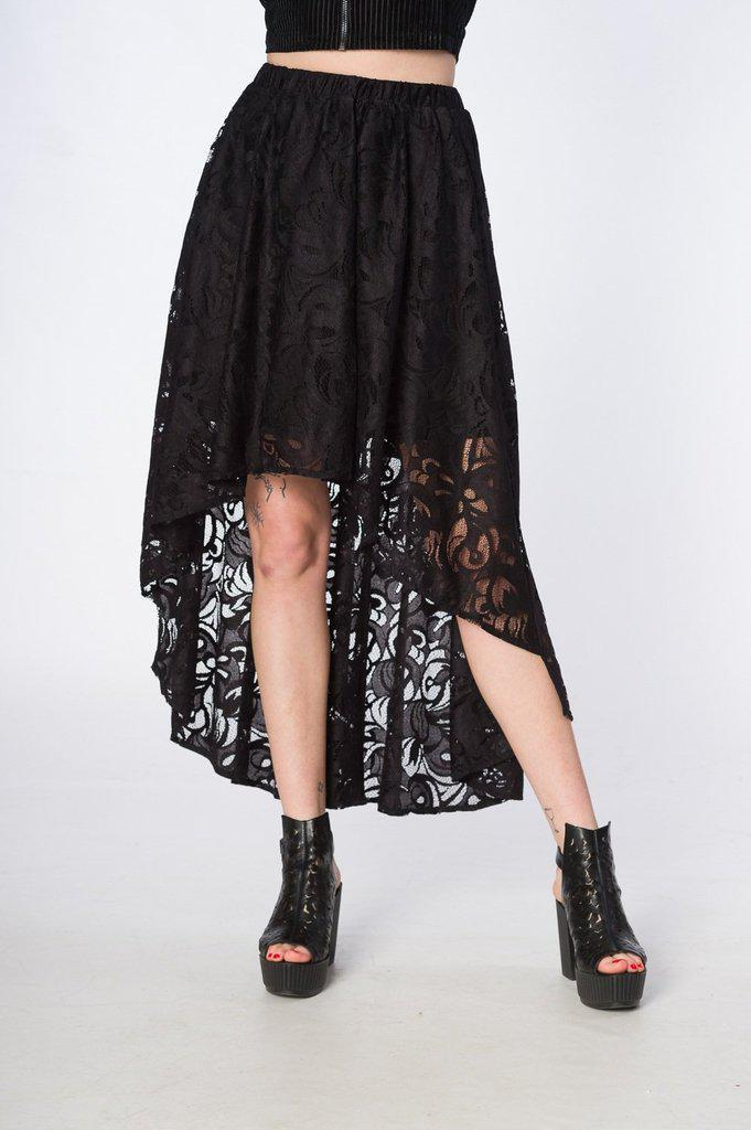 Doomed Romantic High Low Hem Skirt-Banned-Dark Fashion Clothing