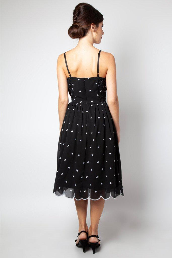 Dotty Polka Dot Flared Dress-Voodoo Vixen-Dark Fashion Clothing