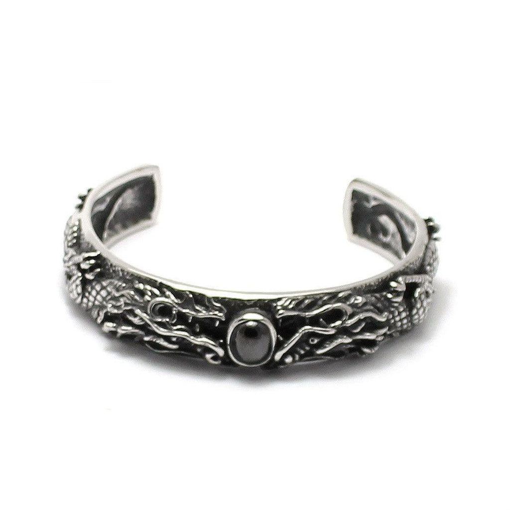Dragon And Black Stone Bangle Stainless Steel-Badboy-Dark Fashion Clothing