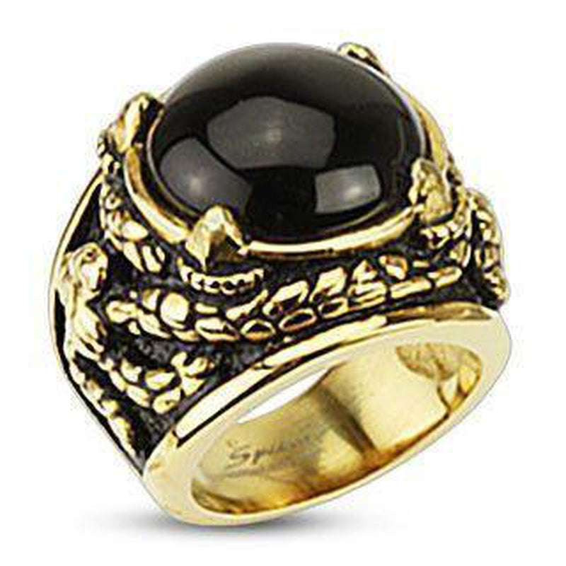Dragon Claws Holding Onyx Stone Gold IP Steel Ring-Spikes-Dark Fashion Clothing