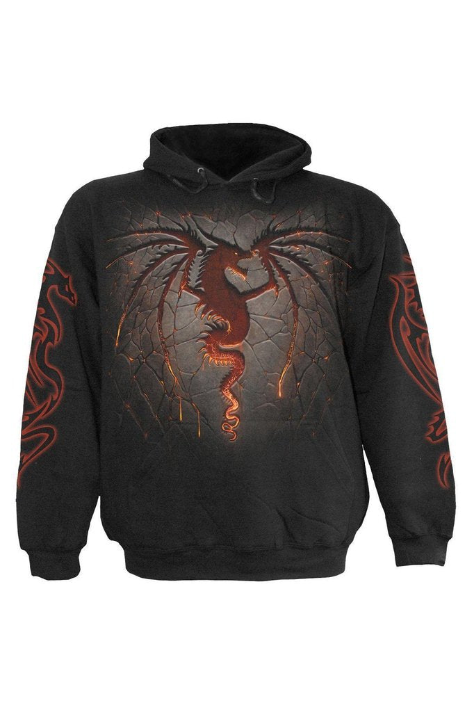 Dragon Furnace - Hoody Black-Spiral-Dark Fashion Clothing