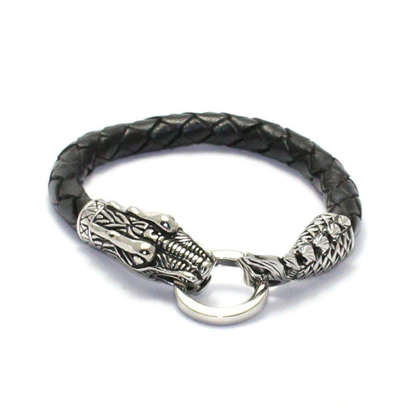 Dragon Head and Tail Bracelet - Stainless Steel & Leather-Badboy-Dark Fashion Clothing