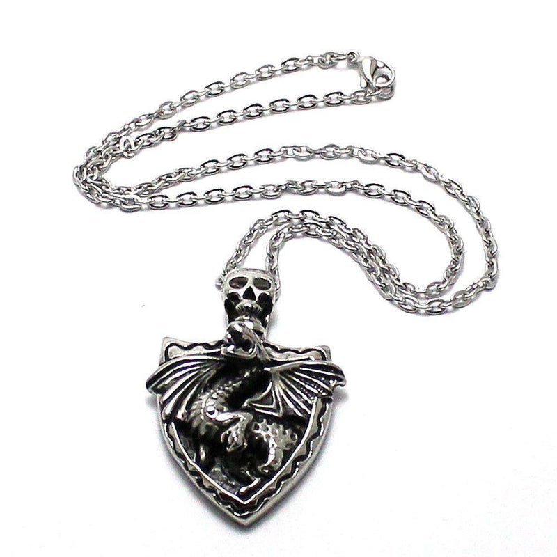 Dragon Skull Shield Pendant - Stainless Steel-Badboy-Dark Fashion Clothing