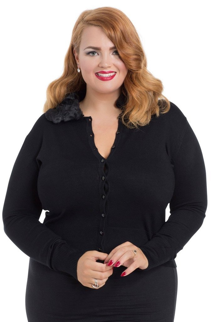 Edith Faux Fur Collar Plus Size Cardigan-Voodoo Vixen-Dark Fashion Clothing