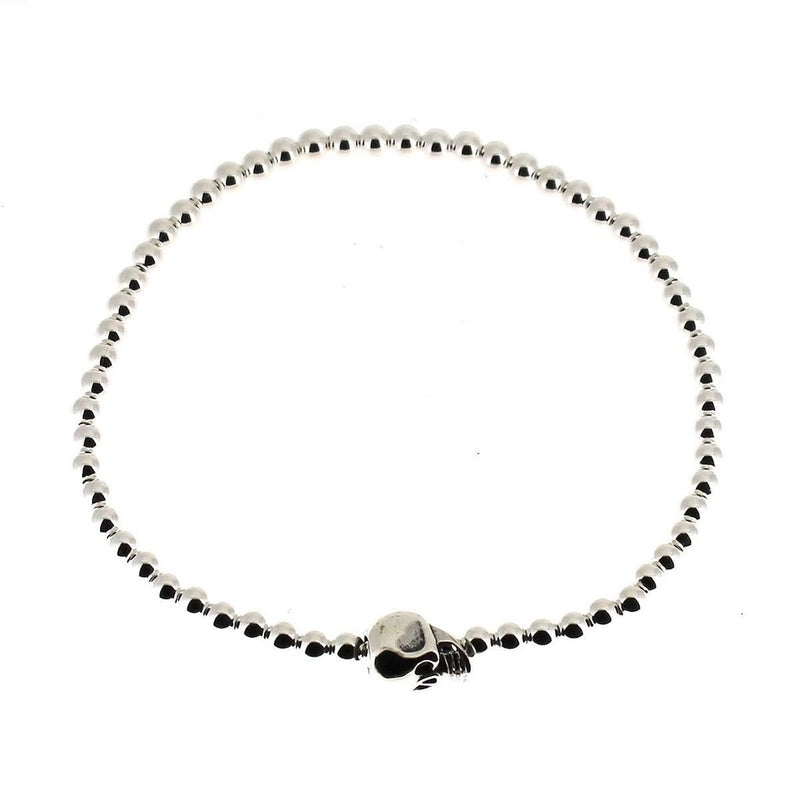 Elasticated Bracelet with Sterling Silver Skull and Beads-Badboy-Dark Fashion Clothing