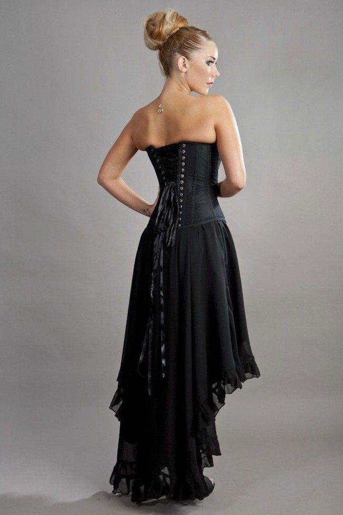 Elizium Victorian High Low Skirt In Chiffon-Burleska-Dark Fashion Clothing