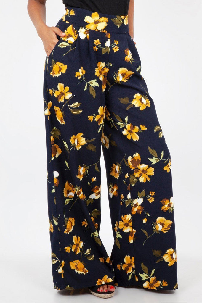 Emilia Yellow Floral Palazzo Pants-Voodoo Vixen-Dark Fashion Clothing