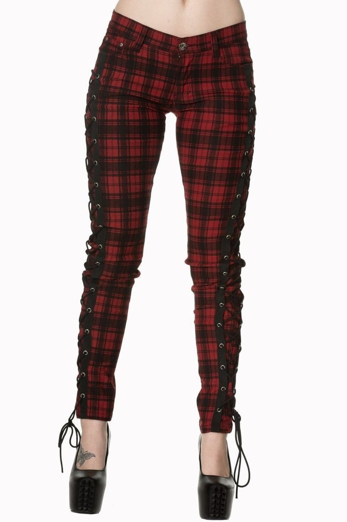 Escaping Darkness Tartan Skinny Trouser-Banned-Dark Fashion Clothing