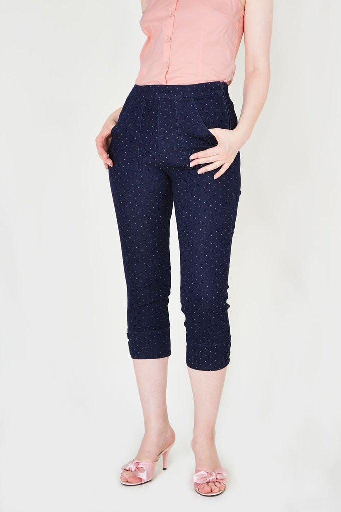 Eva Denim Capri Pants-Voodoo Vixen-Dark Fashion Clothing