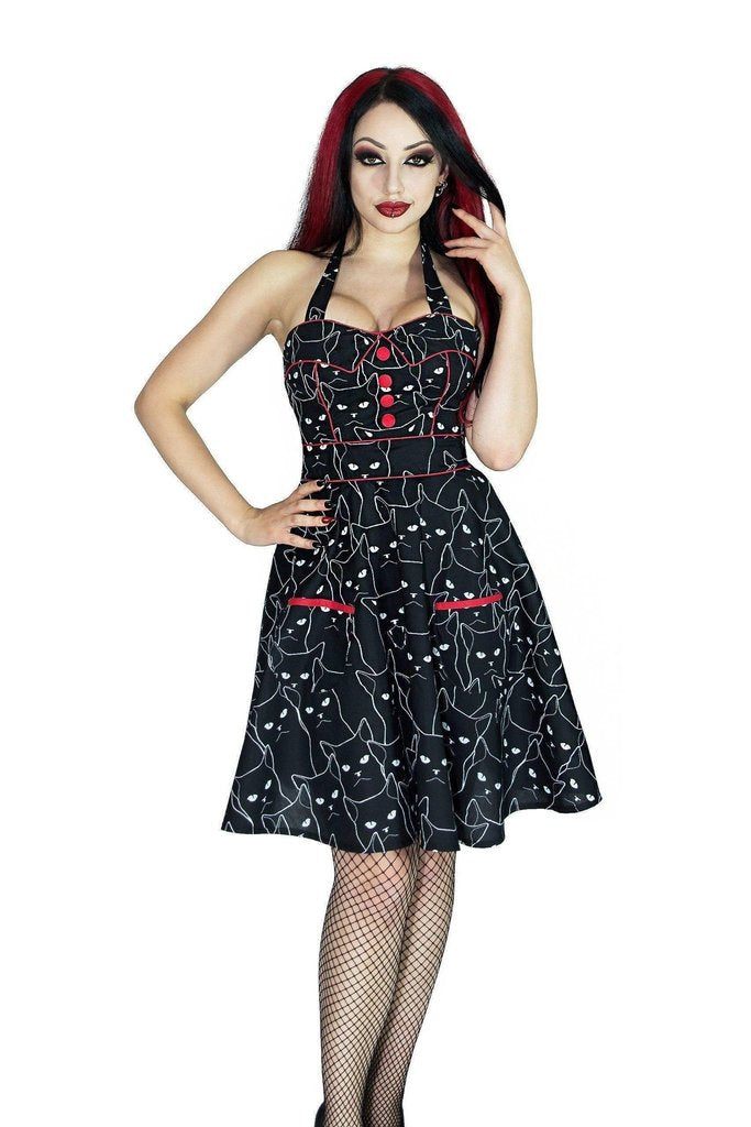 Evil Cats Black Mini Dress - Gatta