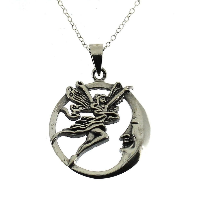 Fairy With Moon Pendant - Sterling Silver-Badboy-Dark Fashion Clothing