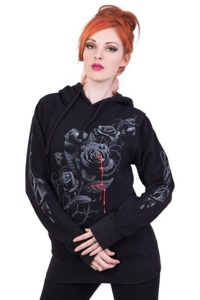 Fatal Attraction - Side Pocket Stitched Hoody Black-Spiral-Dark Fashion Clothing