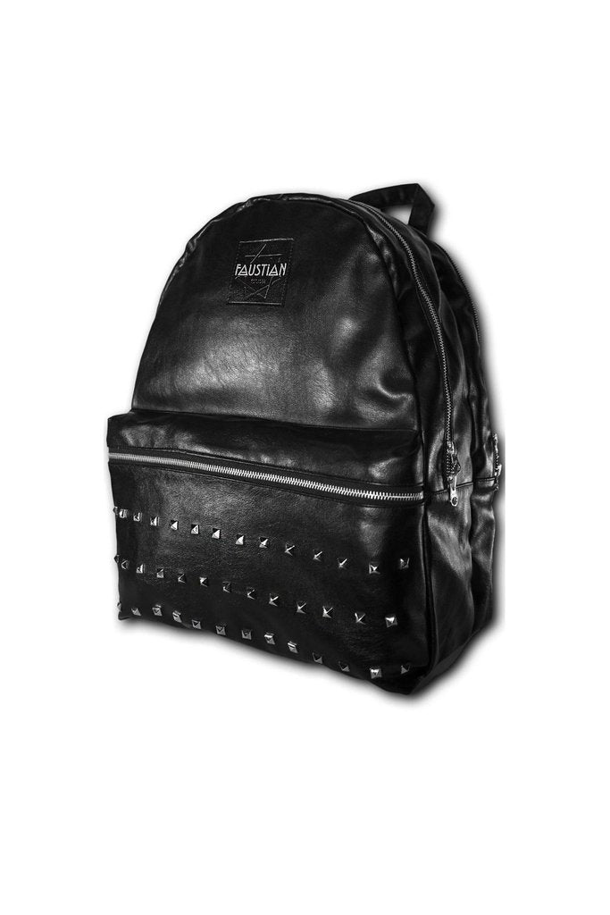 Faustian Square Pyramid Vegan Leather Black Backpack - Adder-Dr Faust-Dark Fashion Clothing