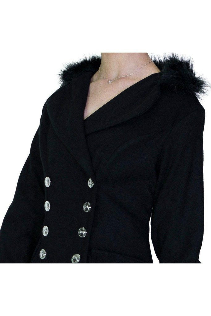 Faux Fur Cuffs Silver Buttons Black Wool Coat - Dominique-Dr Faust-Dark Fashion Clothing
