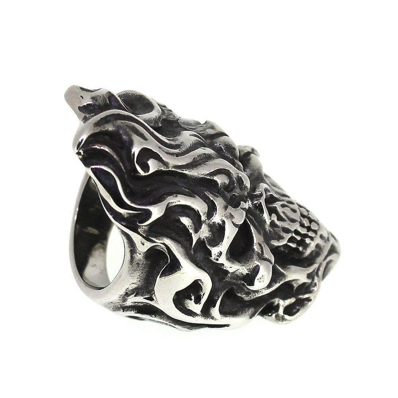 Flamed Skull Ring - Stainless Steel-Badboy-Dark Fashion Clothing