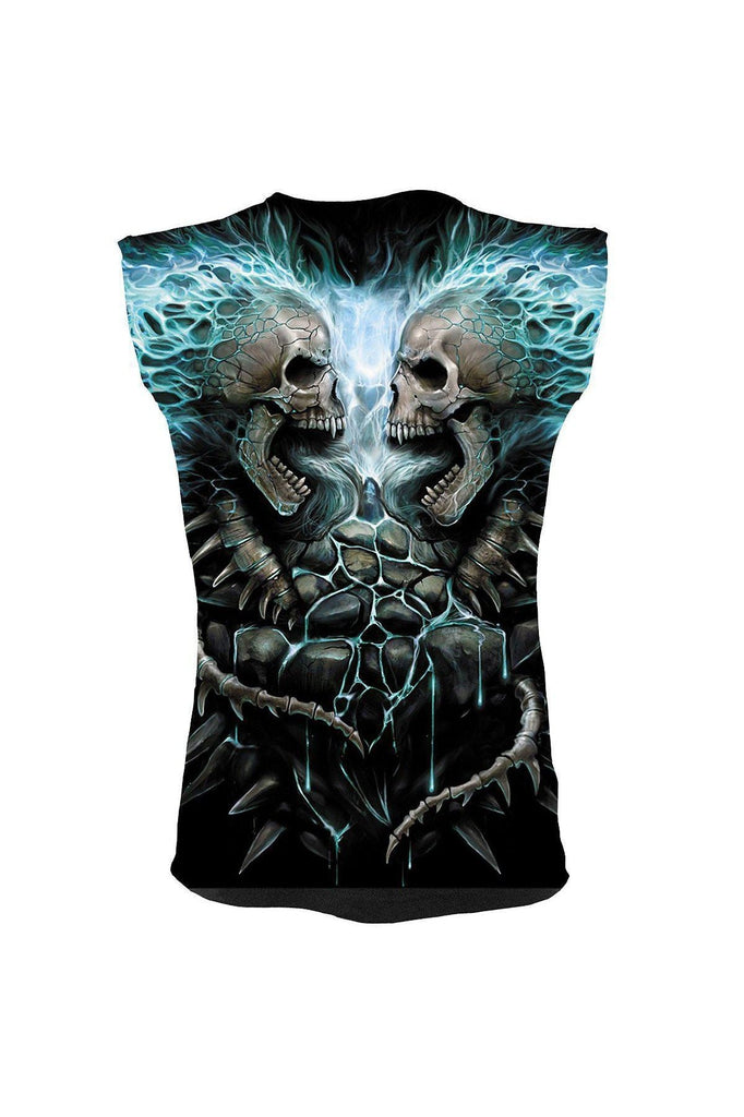 Flaming Spine - Allover Sleeveless T-Shirt Black-Spiral-Dark Fashion Clothing