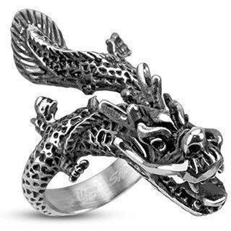 Full Dragon Ring - Stainless Steel-Spikes-Dark Fashion Clothing