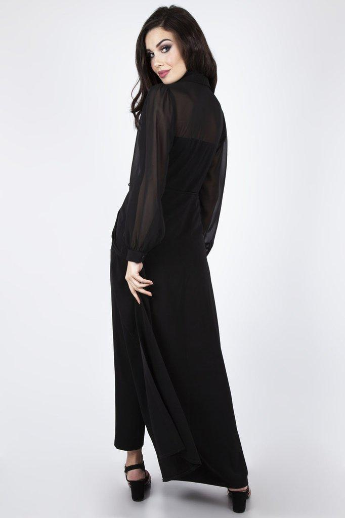 Gia Cape Straight Leg Jumpsuit-Voodoo Vixen-Dark Fashion Clothing