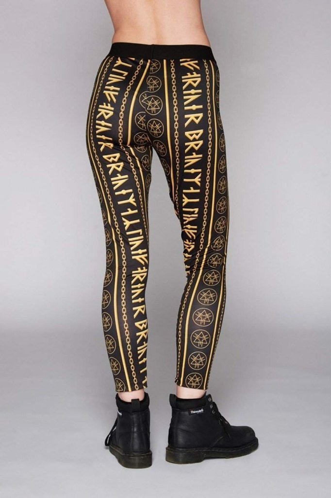 Gold Rune Leggings-Long Clothing-Dark Fashion Clothing