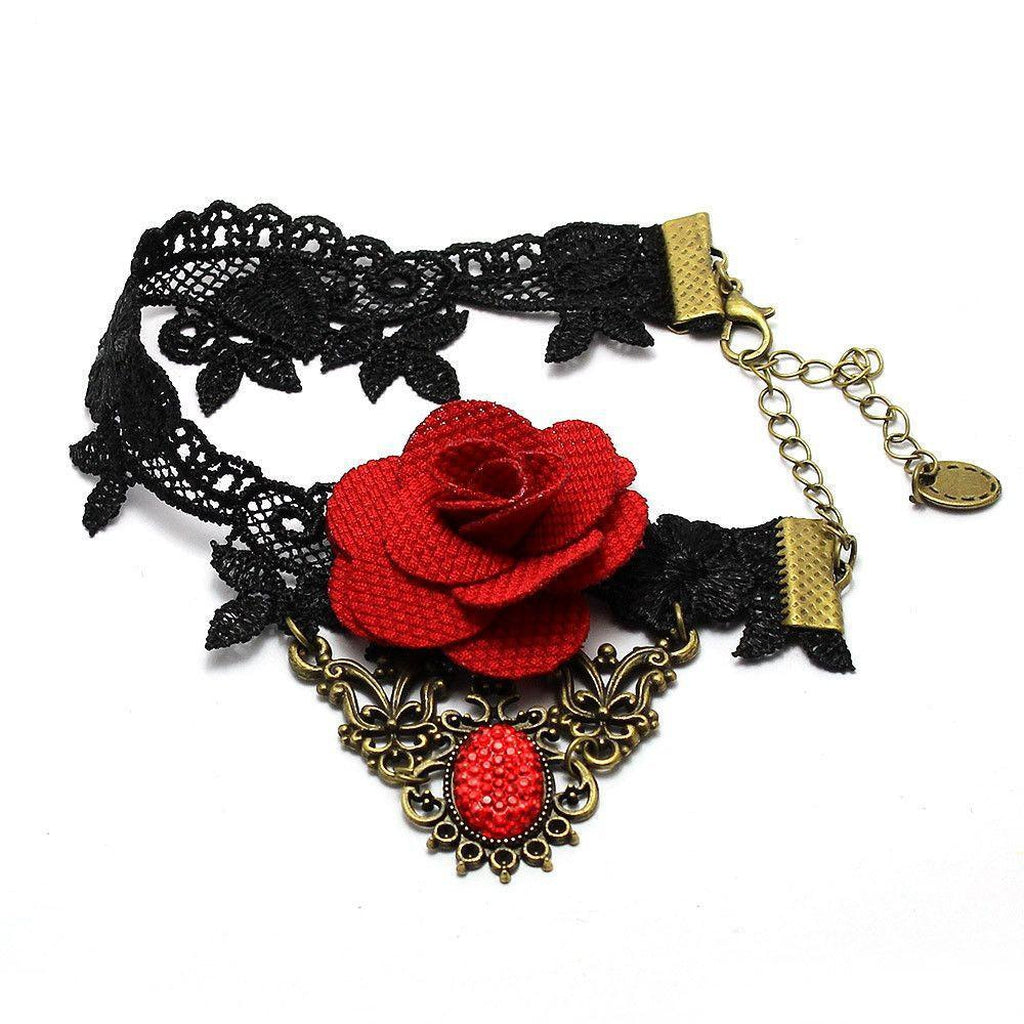 Goth Anklet - Lace With Rose-Badboy-Dark Fashion Clothing