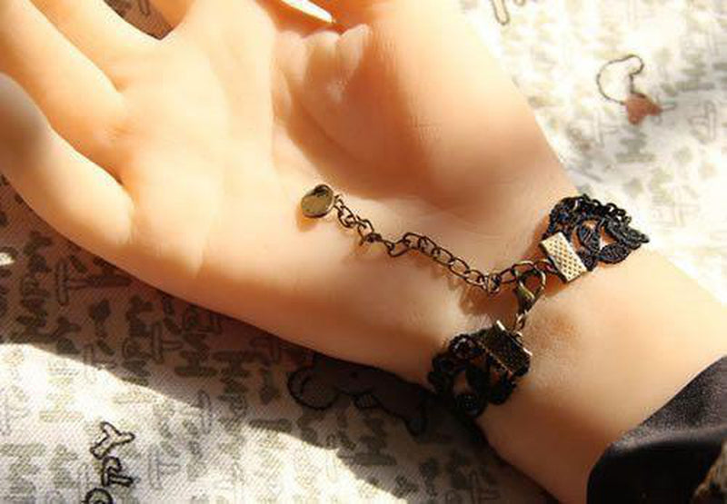 Goth Bracelet - Lace With Cat and Bead Charms-Badboy-Dark Fashion Clothing
