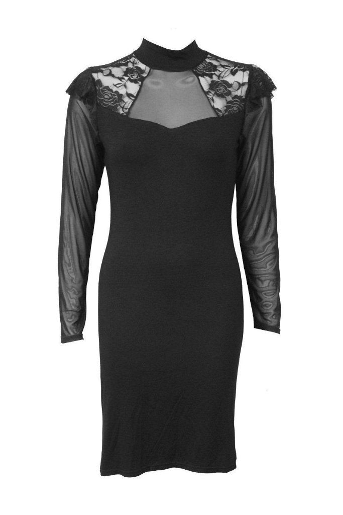 Gothic Elegance - Lace Shoulder Corset Dress-Spiral-Dark Fashion Clothing
