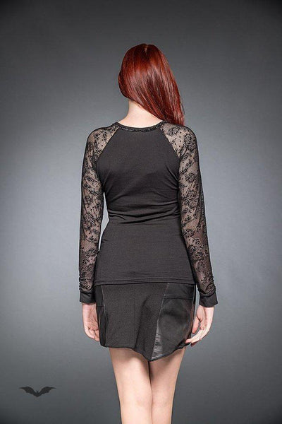 27459c49c1 Gothic Top With Long Lace-Sleeves-Queen of Darkness-Dark Fashion Clothing