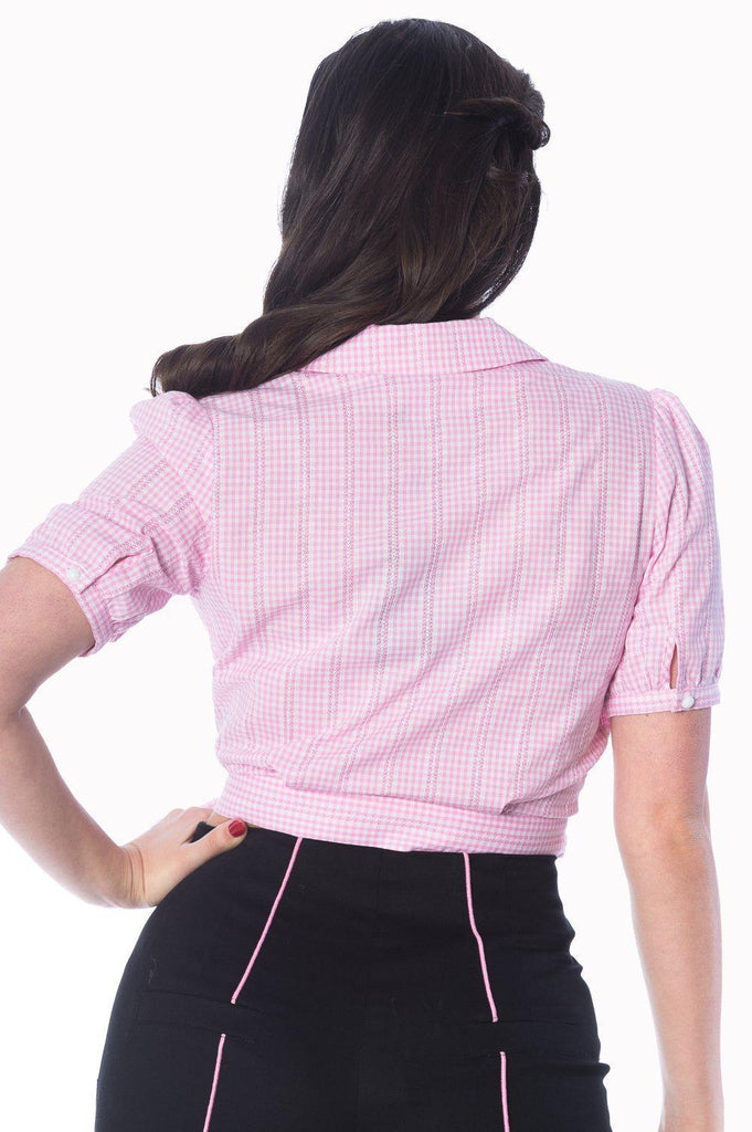 Grease Wrap Gingham Blouse-Banned-Dark Fashion Clothing
