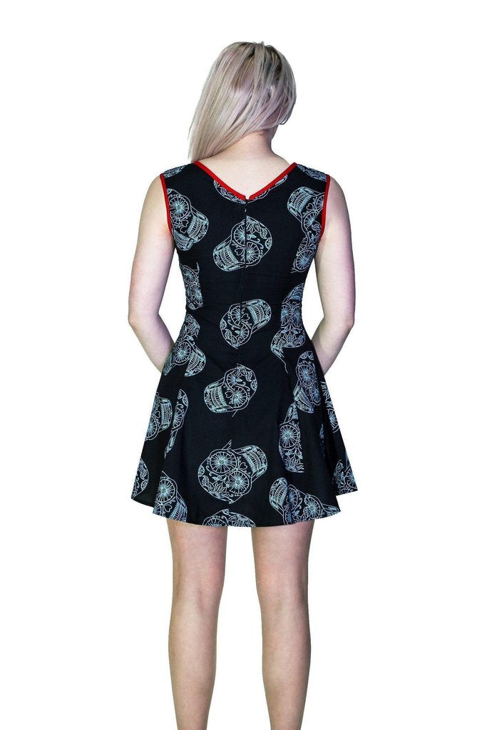 Grey Sugar Skulls Black Mini Dress - Calavera-Dr Faust-Dark Fashion Clothing