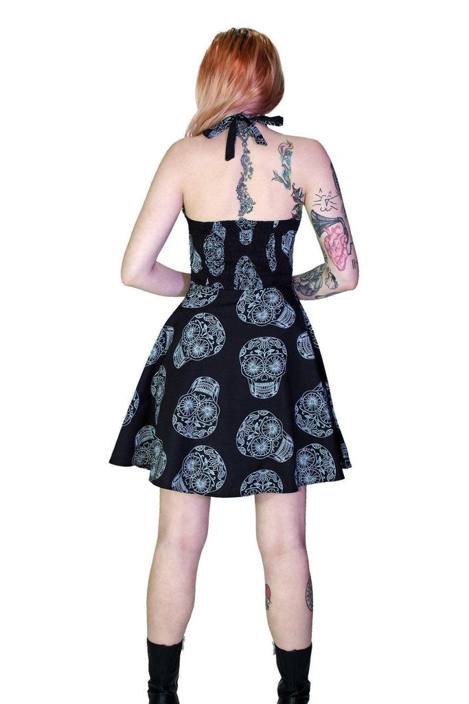 Grey Sugar Skulls Halterneck Black Mini Dress - Medea-Dr Faust-Dark Fashion Clothing
