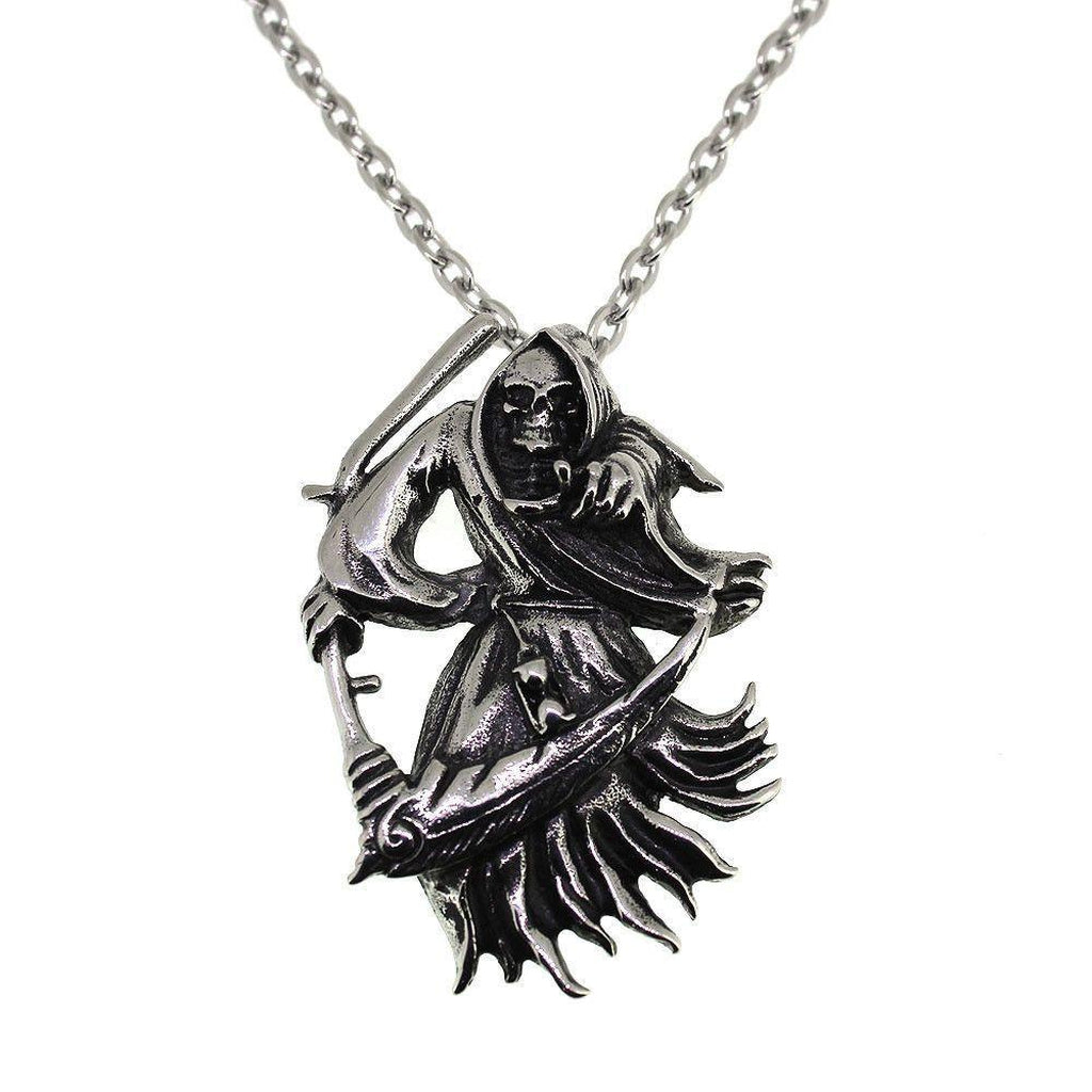 Grim Reaper Pendant - Stainless Steel-Badboy-Dark Fashion Clothing