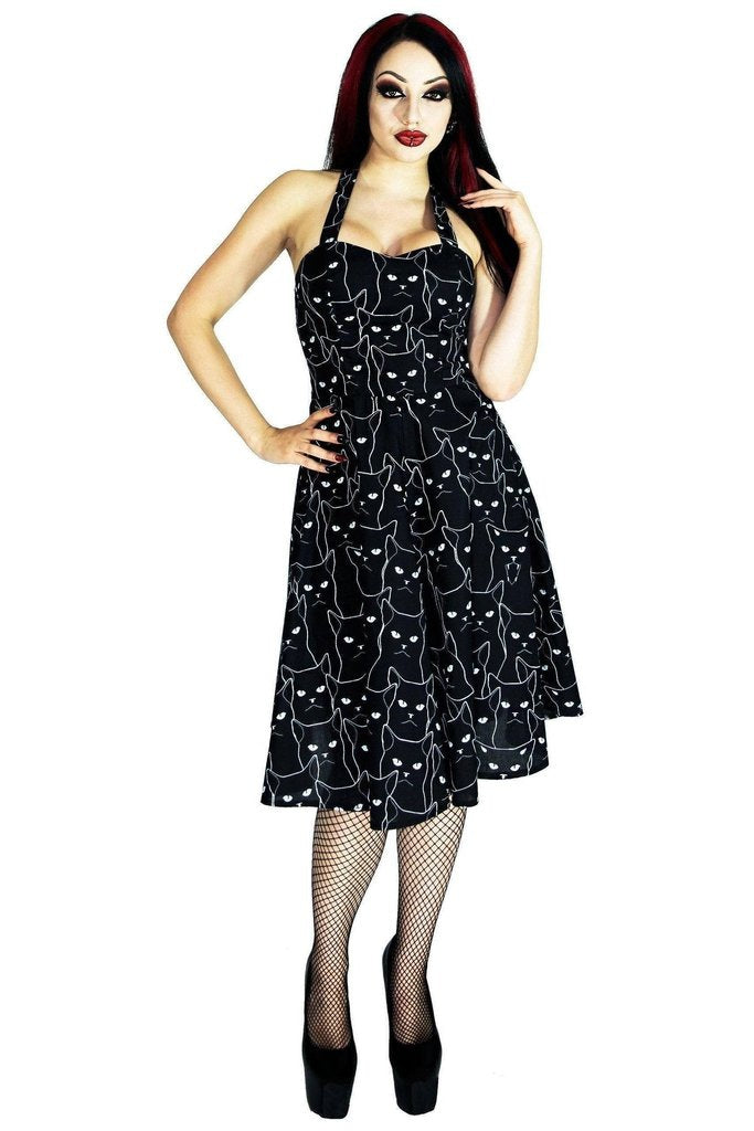 Grumpy Cats Black Midi Dress - Felina