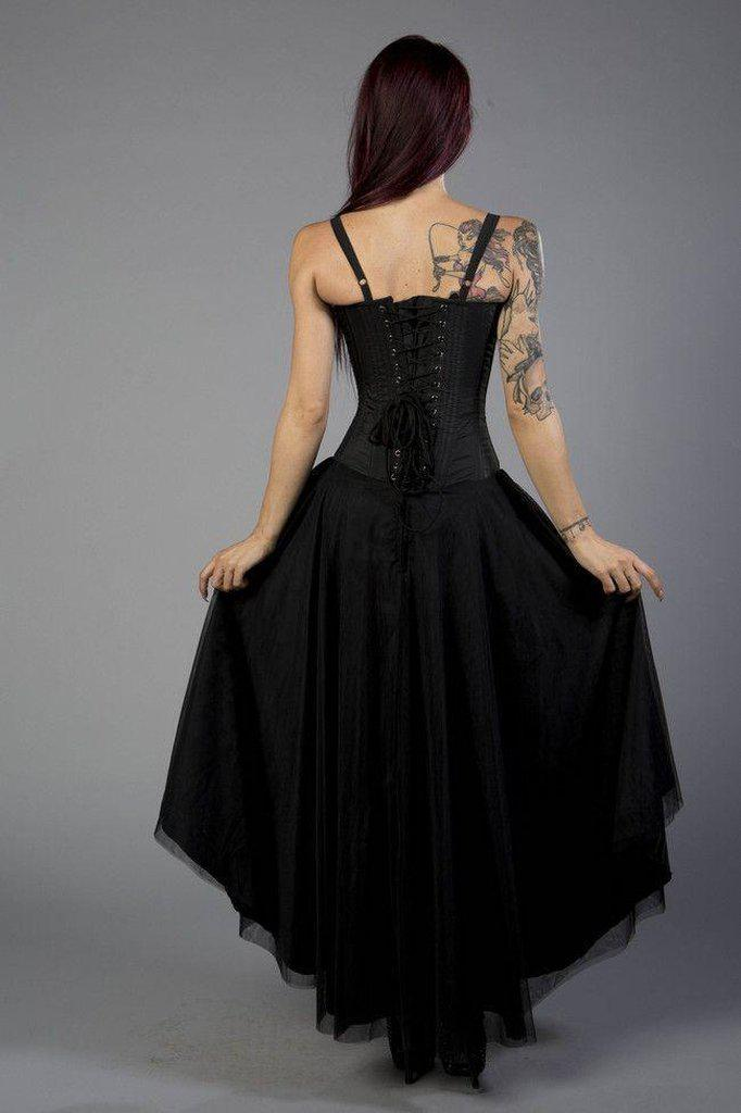 Gypsy Victorian Gothic Corset Dress In Black Taffeta And Black Mesh-Burleska-Dark Fashion Clothing