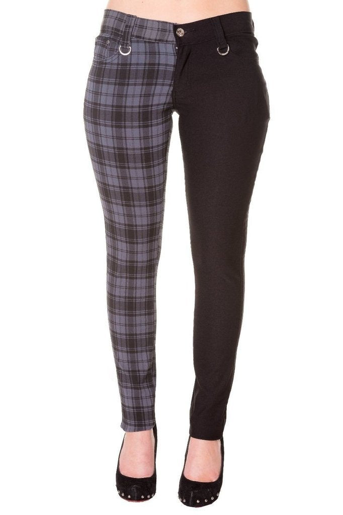 Half Black Half Check Skinny Jeans-Banned-Dark Fashion Clothing