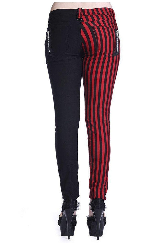 Half Black Half Striped Trousers-Banned-Dark Fashion Clothing