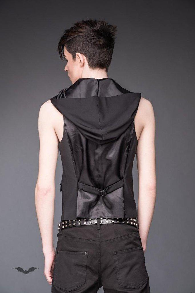 Hooded Vest With Bondages Decorated With Studs-Queen of Darkness-Dark Fashion Clothing