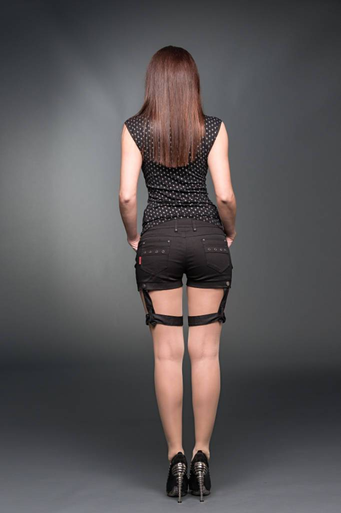 Hotpants With 1 Removable Bondage On The Leg-Queen of Darkness-Dark Fashion Clothing