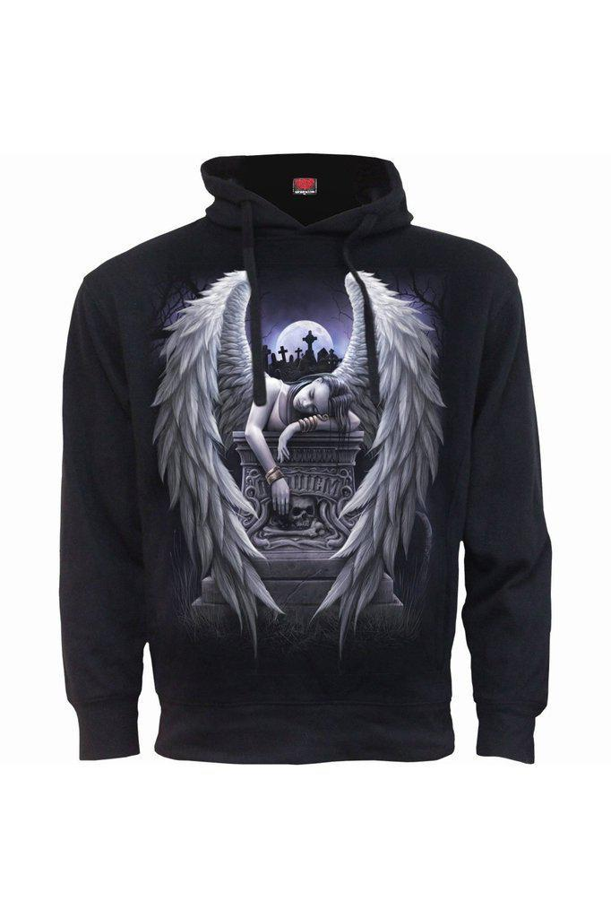 Inner Sorrow - Side Pocket Stitched Hoody Black-Spiral-Dark Fashion Clothing