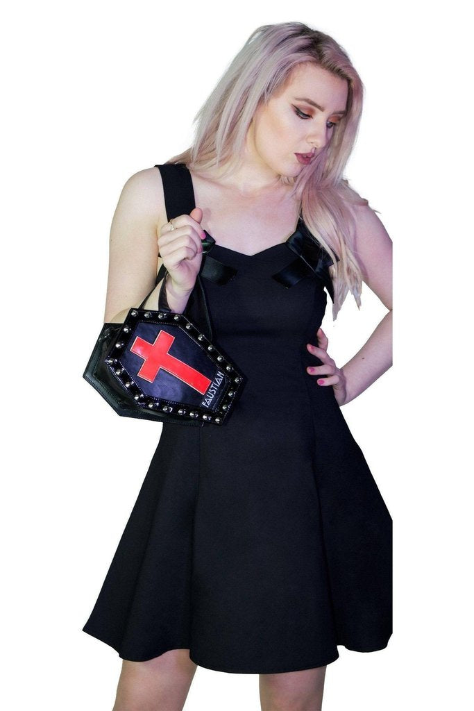 Interchangeable Magnetic Crosses Studs Vegan Leather Small Coffin Bag - Katana-Dr Faust-Dark Fashion Clothing