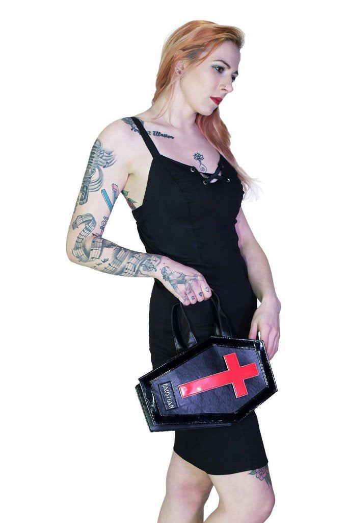 Interchangeable Magnetic Crosses Vegan Leather Coffin Bag - Katana-Dr Faust-Dark Fashion Clothing