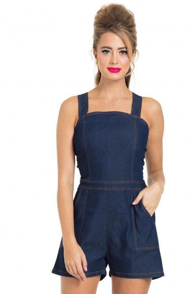 Jenni Denim Playsuit-Voodoo Vixen-Dark Fashion Clothing