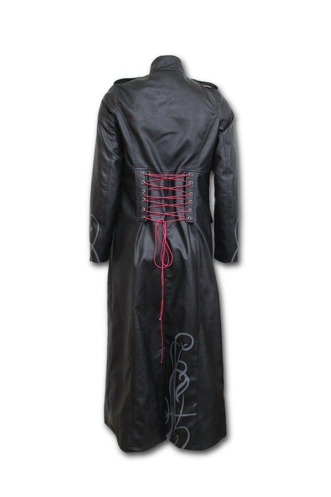ca24d06de7 Just Tribal - Gothic Trench Coat Pu-Leather Corset Back-Spiral-Dark Fashion