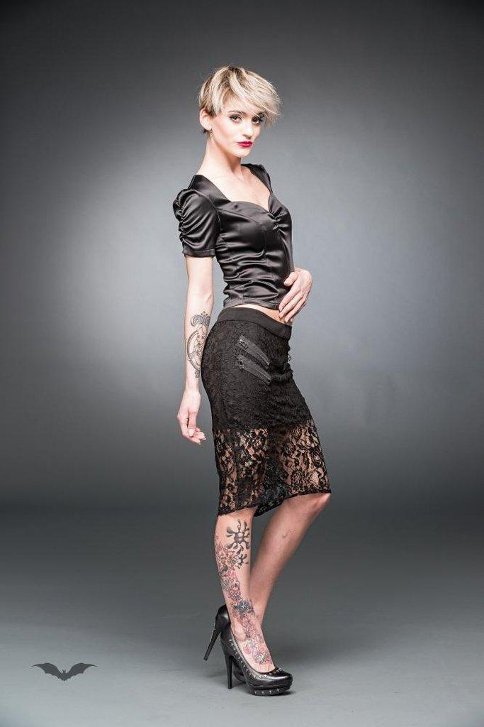 Knee-Length Lace Skirt With Zippers-Queen of Darkness-Dark Fashion Clothing