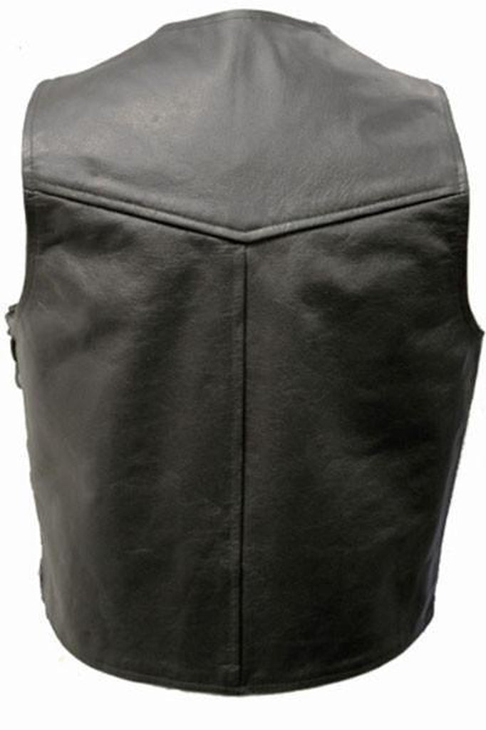 Lace Sided Biker Waistcoat-Skintan Leather-Dark Fashion Clothing