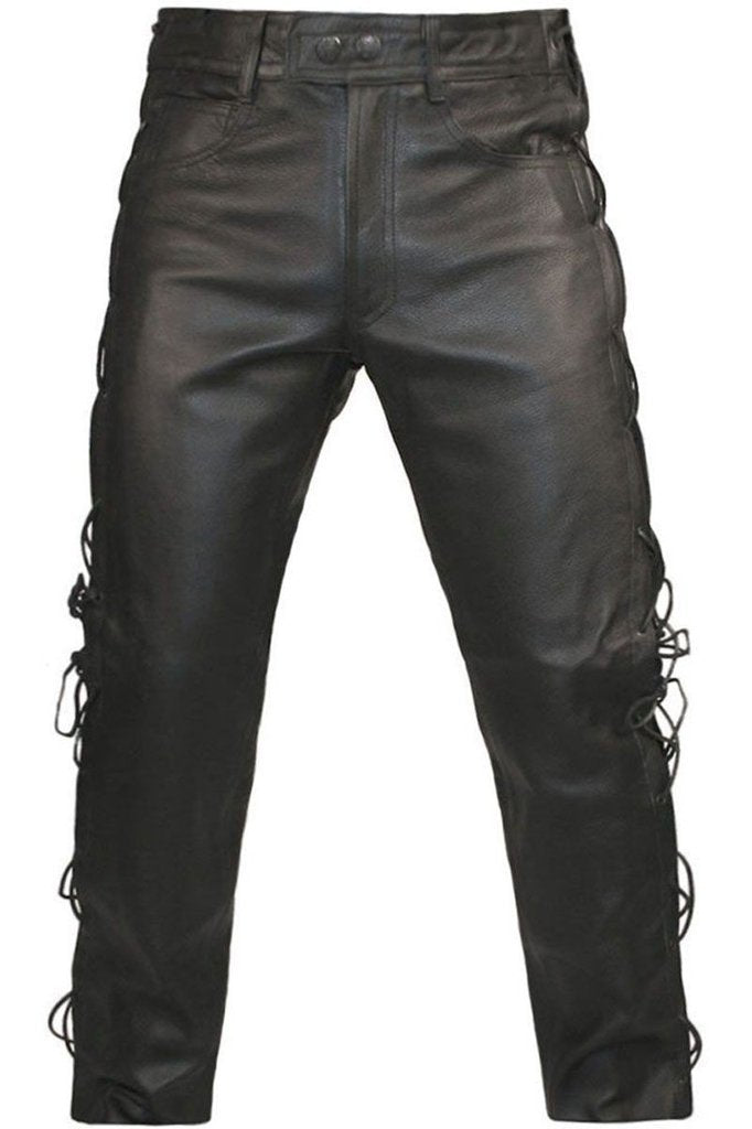 Lace Sided Trousers-Skintan Leather-Dark Fashion Clothing